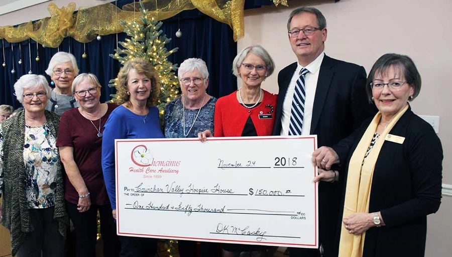 Chemainus Health Care auxiliary donate $150,000 cheque