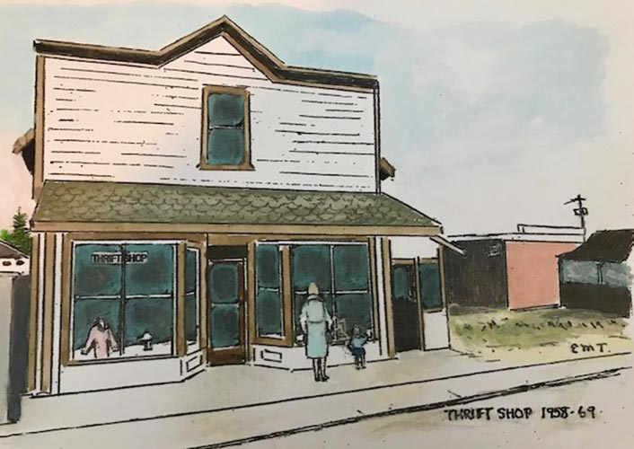 Chemainus Health Care Auxiliary Thrift Shop 1958-69 Sketch